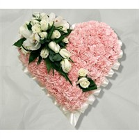 With Sympathy Flowers - Pink Carnation Based Heart Edged With Pink Ribbon 12inch
