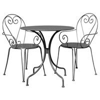 Charles Bentley Steel Heart 2 Seater Dining Set in Grey (WO/ST/H.02/GY) DIRECT DISPATCH