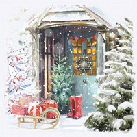 Ling 6 Pack Charity Christmas Cards - Glitter Front Door Scene - 13.5cm (X12102RCJP)