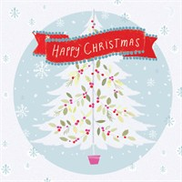 Ling 6 Pack Charity Christmas Cards - Glitter White Christmas Tree - 13.5cm (X12105RCJP)