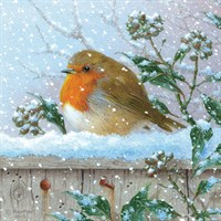 Ling 6 Pack Charity Christmas Cards - Robin on Fence - 13.5cm (X12115RCJP)