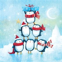Ling 6 Pack Charity Christmas Cards - Penguin Tree - 13.5cm (X12117RCJP)