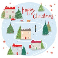 Ling 6 Pack Charity Christmas Cards - Village Scne - 13.5cm (X12119RCJP)