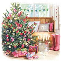 Ling 6 Pack Charity Christmas Cards - Tree in Living Room - 13.5cm (X12124RCJP)