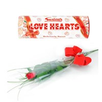 A Single Long Stem Valentine's Day Red Rose + Love Hearts Offer