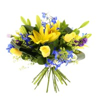 Baby Boy Yellow & Blue Cut Flower Handtied Bouquet
