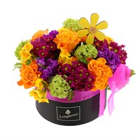 Mother's Day Bright Mix Hat Box Floral Arrangement