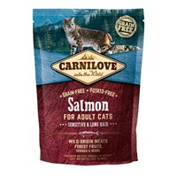 Carnilove Salmon Cat Food for Adult Cats - Sensitive & Long Hair 400g (512294)