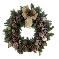 Christmas Wreath - Classic Natural Door Real Wreath - 16 Inches