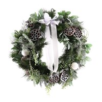 Christmas Door Wreath Artificial White Frosted