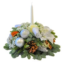 Christmas Fresh Silver & White Candle Posy Arrangement