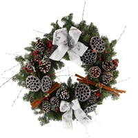 Christmas Wreath - Jack Frost Door Real Wreath - 16 Inches