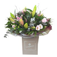 Christmas Pink & Silver Deluxe Hand Tied Bouquet Arrangement