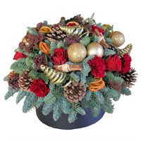 Christmas Red & Gold Hat Box Floral Arrangement - Small