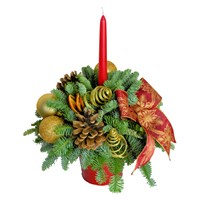 Christmas Red Tin Candle Posy Arrangement