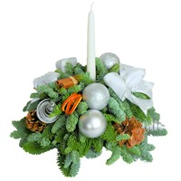Christmas Silver Candle Posy Arrangement