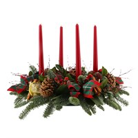 Christmas Traditional Advent Candle Long & Low Floral Arrangement
