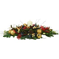 Christmas Traditional Long & Low Candle Centrepiece Arrangement