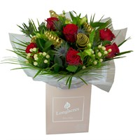 Christmas Twirl & Roses Hand Tied Bouquet Arrangement