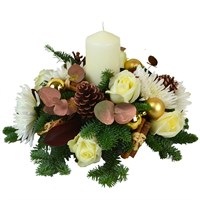 Christmas White & Copper All Round Posy Arrangement