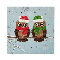 Craft Buddy Pair Of Owls Crystal Christmas Card Kit (CCK-C5)
