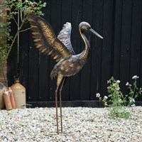 Creekwood Large Bronze Crane - Wings Up Garden Ornament (48063)