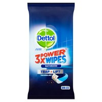 Dettol 3x Power Bathroom Trap & Lift Cleaner - 28 Large Wipes
