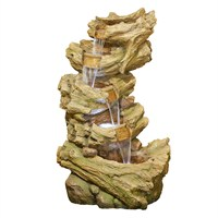 DIRECT DISPATCH Easy Fountain Hickory Falls Water Feature with LEDs (45167L)