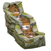 DIRECT DISPATCH Easy Fountain Simmering Falls Water Feature with LEDs (45149L)