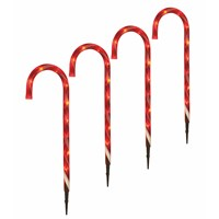 Festive 4 X 52cm Red And White LED Christmas Light Candy Cane Stake (P026738)
