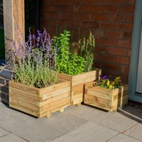 Forest Garden Wooden Kendal Square Planter - Set Of 3 (MFD82)