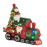Fountasia Christmas Ceramic Santa Express Train With Music LED Decoration (79088)