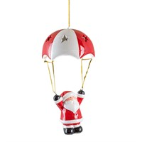 Fountasia Christmas Hanging Ceramic Parachuting Decoration With Colour Changing LED Lights - Santa (78169)