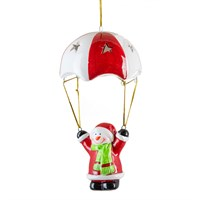 Fountasia Christmas Hanging Ceramic Parachuting Decoration With Colour Changing LED Lights - Snowman (78169)