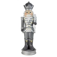 Fountasia Christmas Nutcracker with Candy Cane with LED Lights - Silver and White - Small (79153)