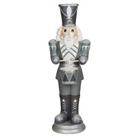 Fountasia Christmas Nutcracker with Drum with LED Lights - Silver & White - Medium (79157)