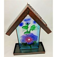 Fountasia Hisbiscus Stained Glass & Metal Hanging Wild Bird Feeder (35027)