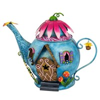 Fountasia Ornament - Fairy Blue Teapot House (95100)