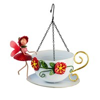 Fountasia Ornament - Fairy Hanging Teacup Wild Bird Feeder - Poppy (390136)