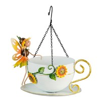 Fountasia Ornament - Fairy Hanging Teacup Wild Bird Feeder Sunflower 'Honey' (390133)