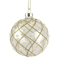Gisela Graham Christmas Clear Bauble with Gold Glitter & Pearl Trellis - 80mm (00061)
