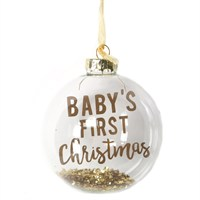 Gisela Graham Christmas Clear Glass Gold Glitter 'Baby's 1st Christmas' Bauble (00328)