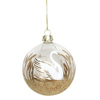 Gisela Graham Christmas Clear Gold Glitter Glass Bauble with Swan (00534)