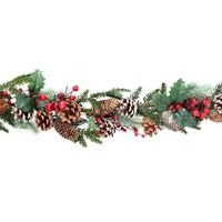 Gisela Graham Christmas Fir Garland with Snowy Cones & Red Berries Decoration (41014)