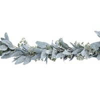 Gisela Graham Christmas Frosted Eucalyptus Leaf Garland with Mini Berry Decoration (41016)