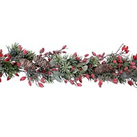 Gisela Graham Christmas Frosted Fir Garland with Rosehips Decoration (40990)