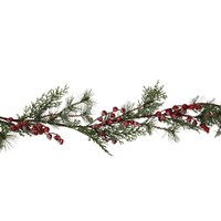 Gisela Graham Christmas Frosted Fir/Red Berry Garland Decoration (40342)