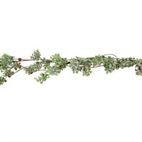 Gisela Graham Christmas Frosted Leaf/Red Mini Berry Garland Decoration (40206)
