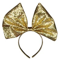 Gisela Graham Christmas Glitter Fabric Bow Hairband - Gold (32315)