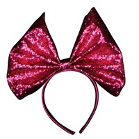 Gisela Graham Christmas Glitter Fabric Bow Hairband - Pink (32315)
